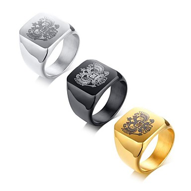 levne Pánské šperky-Pánské Midi Ring Pečetní prsten 1ks Zlatá Černá Stříbrná Titanová ocel Čtvercový Módní Armáda Párty Denní Šperky Klasika Cool