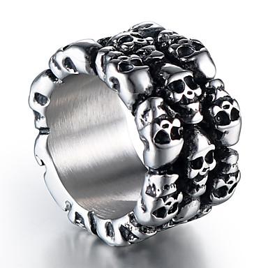levne Pánské šperky-Pánské Band Ring 1ks Stříbrná Titanová ocel Kulatý stylové Vintage Punk Street Klub Šperky Retro styl Socha Lebka Cool
