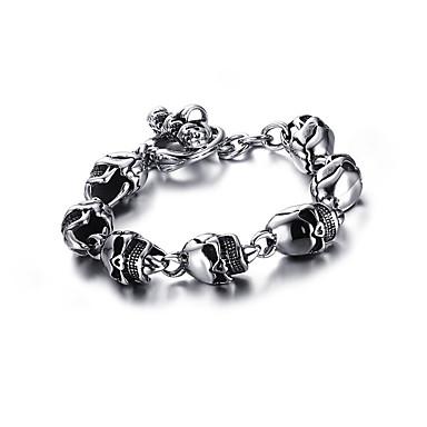 levne Pánské šperky-Pánské Klasické Náramky Link / řetězec Lebka Punk Evropský Titanová ocel Náramek šperky Stříbrná Pro Street / Pokovená platina