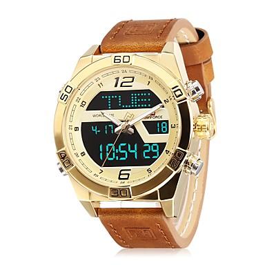levne Pánské-NAVIFORCE Pánské Sportovní hodinky Náramkové hodinky japonština Japonské Quartz Pravá kůže Modrá / Hnědá 30 m Voděodolné Kalendář Hodinky s dvojitým časem Analogové Na běžné nošení Módní - Modr