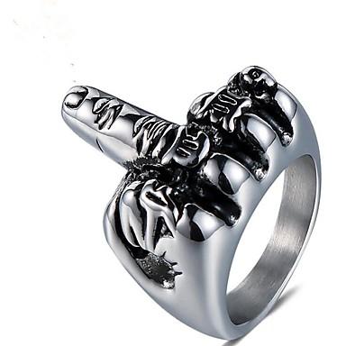 voordelige Herensieraden-Heren Midi Ring 1pc Zilver Titanium Staal Geometrische vorm Vintage Dagelijks Feestdagen Sieraden Vintagestijl Totem Series Cool
