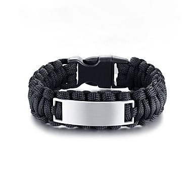 voordelige Herensieraden-Heren loom Bracelet Gevlochten modieus Koreaans Rips Armband sieraden Zwart / Lichtbruin Voor Straat / Titanium Staal / Platina Verguld