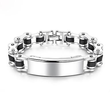 levne Pánské šperky-Pánské Řetězové & Ploché Náramky Silný řetězec Evropský Módní Titanová ocel Náramek šperky Chladná bílá Pro Denní / Pokovená platina