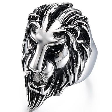 levne Pánské šperky-Pánské Midi Ring 1ks Zlatá Stříbrná Titanová ocel Geometric Shape Vintage Dar Denní Šperky Retro styl Lev Cool