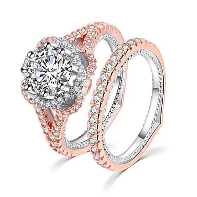 billige Motering-Dame Ring Ring Set 2pcs Rose Gull Kobber Gullplatert rose Fuskediamant damer Romantikk Mote Fest Stevnemøte Smykker Klassisk HALO Pave Blomst Kjærlighed Smuk