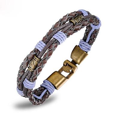 voordelige Herensieraden-Heren Lederen armbanden loom Bracelet Gevlochten Uniek ontwerp modieus Messinki Armband sieraden Licht Paars Voor Dagelijks Straat