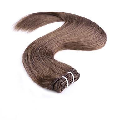 povoljno Ekstenzije od ljudske kose-1 paket Indijska kosa Ravan kroj Ljudska kosa tkati 20 inch Tamnosmeđa Plavuša Isprepliće ljudske kose Odor Free Žene proširenje Proširenja ljudske kose / 8A