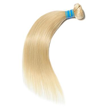 povoljno Ekstenzije od ljudske kose-1 paket Brazilska kosa Ravan kroj Virgin kosa Remy kosa Precolored kose plete 10-26 inch Plavuša Isprepliće ljudske kose Najbolja kvaliteta 100% Djevica Proširenja ljudske kose / 10A