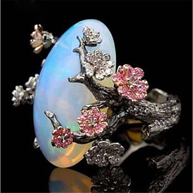 cheap Statement Rings-Women's Statement Ring Synthetic Opal 1pc Black Copper Stone irregular Ladies Asian Romantic Birthday Gift Jewelry Retro Stylish Artisan Flower