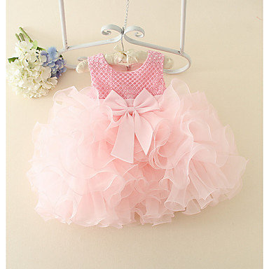 hesapli Bebekl Kıyafetleri-Bebek Genç Kız Temel Solid Kolsuz Pamuklu Elbise Doğal Pembe / Toddler