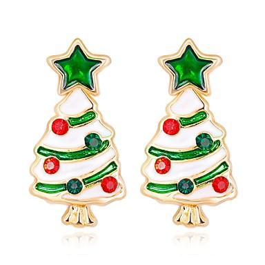 povoljno Modne naušnice-Žene Sitne naušnice 3D Božićno drvce dame Klasik Moda Umjetno drago kamenje Naušnice Jewelry Duga Za Božić Nova Godina 1 par