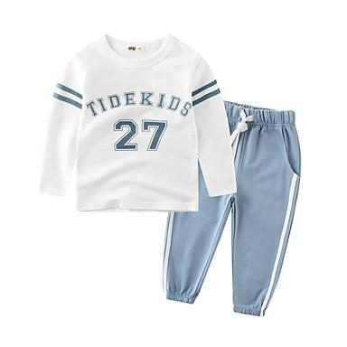 povoljno Kompletići za dječake-Djeca Dječaci Aktivan Osnovni Dnevno Sport Blue & White Color block Vezanje straga Dugih rukava Regularna Normalne dužine Pamuk Komplet odjeće Plava