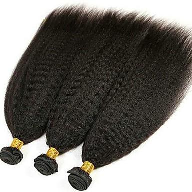 povoljno Ekstenzije od ljudske kose-3 paketa Peruanska kosa Kinky Ravno Ljudska kosa Netretirana  ljudske kose Headpiece Ljudske kose plete Styling kose 8-28 inch Prirodna boja Isprepliće ljudske kose Kreativan Najbolja kvaliteta / 8A