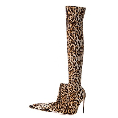 5aef59e11838 Women's Fashion Boots Elastic Fabric Fall & Winter Vintage Boots Stiletto  Heel Pointed Toe Thigh-high Boots Animal Print Leopard / Wedding / Party &  Evening ...