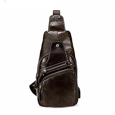 64daf229b6ab Men's Bags Cowhide Sling Shoulder Bag Zipper Solid Color Coffee / Brown / Dark  Brown 6991102 2019 – $44.99