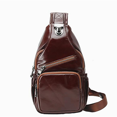 2b71896018ef Men s Bags Cowhide Sling Shoulder Bag Buttons   Zipper Solid Color Coffee    Brown 6991098 2019 –  129.99