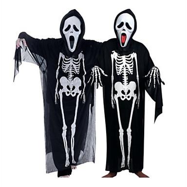 Ghost Cosplay Kostymer   Dräkter Halloween Rekvisita Unisex Barn Vuxna  Halloween Halloween Maskerad Festival   högtid Tyll outfits Svart Häftig  dödskalle ... 1bc3d1c48e3d5
