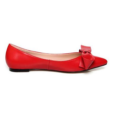 levne Dámské boty s plochou podrážkou-Dámské Bez podpatku Rovná podrážka Nappa Leather Léto Černá / Červená / Růžová