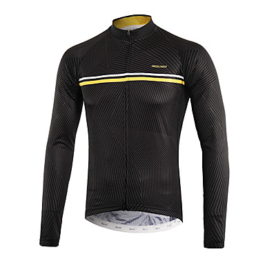 0d5faa2996d Arsuxeo Men s Long Sleeve Cycling Jersey - Black Bike Top Back Pocket  Sweat-wicking Sports Polyster Mountain Bike MTB Road Bike Cycling Clothing  Apparel ...