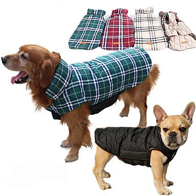 สุนัข เสื้อโค้ต เสื้อกั๊ก ฤดูหนาว Dog Clothes สีน้ำตาล สีเขียว แดง เครื่องแต่งกาย Husky สุนัข Labrador Alaskan Malamute ฝ้าย Plaid / Check กันน้ำ รักษาให้อุ่น เปลี่ยนกลับได้ XS S M L XL XXL