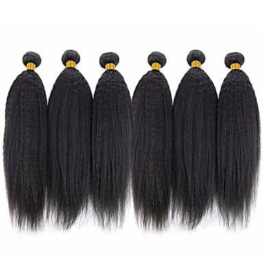 povoljno Ekstenzije od ljudske kose-6 paketića Brazilska kosa Kinky Ravno Ljudska kosa Ljudske kose plete Bundle kose Jedan Pack Solution 8-28 inch Natural Prirodna boja Isprepliće ljudske kose Svilenkast Smooth proširenje Proširenja