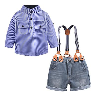 povoljno Odjeća za dječake-Djeca Dijete koje je tek prohodalo Dječaci Ulični šik Škola Kamado roštilj Houndstooth Dugih rukava Regularna Normalne dužine Pamuk Komplet odjeće Plava