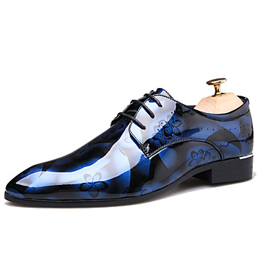 cheap Printed Shoes-Men's Printed Oxfords Patent Leather Fall Casual / British Oxfords Non-slipping Wine / Blue / Brown / Comfort Shoes