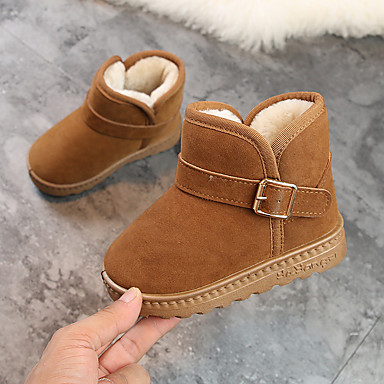 cheap Baby Shoes-Boys' / Girls' Shoes Microfiber Winter Snow Boots Boots for Gray / Brown / Pink