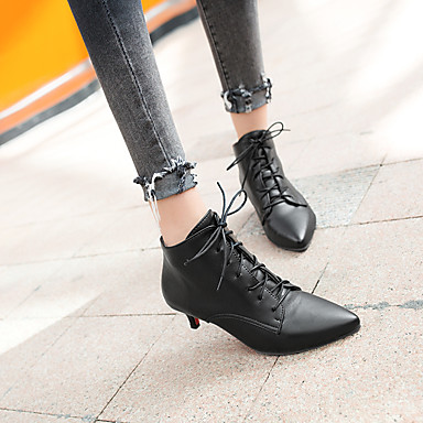 4f94edacd29 [$27.99] Women's Fashion Boots Faux Leather Fall & Winter Boots Kitten Heel  Pointed Toe Booties / Ankle Boots White / Black / Red