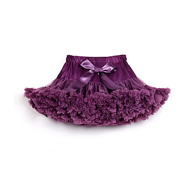 cheap Girls' Skirts-Kids Toddler Girls' Active Daily Going out Solid Colored Bow Layered Pleated Skirt Purple