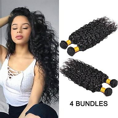 povoljno Ekstenzije od ljudske kose-4 paketića Peruanska kosa Water Wave Ljudska kosa Netretirana  ljudske kose Ljudske kose plete Produžetak Bundle kose 8-28 inch Prirodna boja Isprepliće ljudske kose Nježno Najbolja kvaliteta Gust