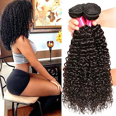 halpa Yksi pakkaus ratkaisu-4 pakettia Hiuskudokset Brasilialainen Kihara Hiukset Extensions Remy-hius 100% Remy Hair Weave -paketit 400 g Hiukset kutoo Aitohiuspidennykset 8-28 inch Luonnollinen väri Luonto musta Shedding