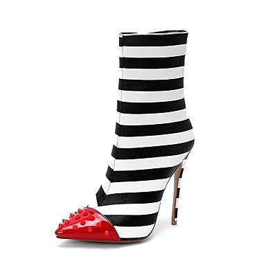levne Dámská obuv-Dámské Boty Fashion Boots Vysoký úzký Palec do špičky Nýty Syntetický Do půli lýtek Bristké Podzim zima Černobílá / Svatební / Proužky