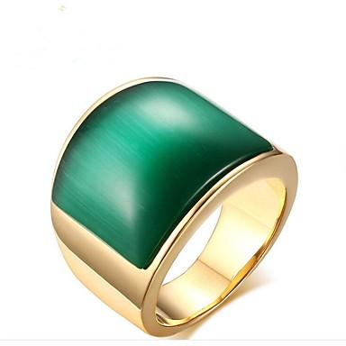 voordelige Herensieraden-Heren Ring Zegelring Smaragd 1pc Koffie Groen Titanium Staal Geometrische vorm Modieus Dagelijks Avond Feest Sieraden Klassiek Cool
