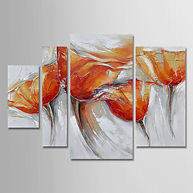 cheap Wall Art-Oil Painting Hand Painted - Floral / Botanical Modern Stretched Canvas / Four Panels