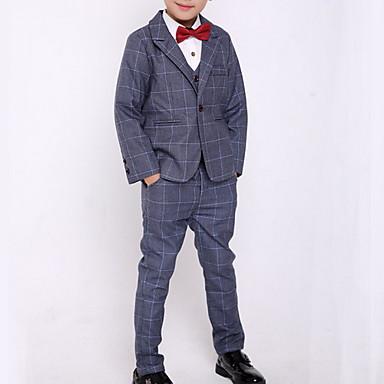 povoljno Odjeća za dječake-Djeca Dječaci Ulični šik Karirani uzorak Dugih rukava Normalne dužine Komplet odjeće Plava