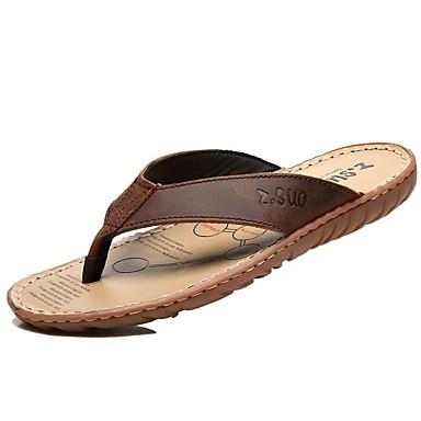 levne Dámské žabky a pantofle-Dámské Pantofle a Žabky Komfortní boty Rovná podrážka Kůže Vintage / Na běžné nošení Léto Černá / Hnědá