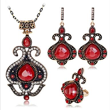 levne Dámské šperky-Dámské Červená Rubínová Vintage náhrdelník Retro dámy Vintage Cikánské Afričan Náušnice Šperky Červená / Modrá Pro Párty Denní 1 sada