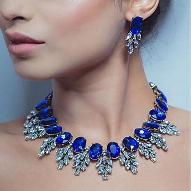 cheap Jewelry & Watches-Women's Multicolor Sapphire Crystal Cubic Zirconia Drop Earrings Choker Necklace Necklace Oval Cut Leaf Statement Ladies Luxury Elegant Rhinestone Earrings Jewelry Dark Yellow / White / Purple For