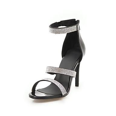 a09ad75ccc0 Mujer Novedad Zapatos PU Verano Sandalias Tacón Stiletto Puntera abierta  Pedrería Blanco   Negro   Plata   Boda   Fiesta y Noche 6987293 2019 –   37.19