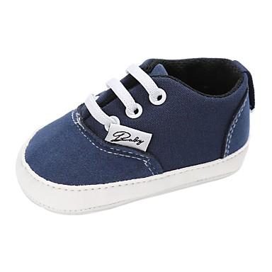 voordelige Babyschoenentjes-Jongens / Meisjes Comfortabel / Eerste schoentjes Canvas Platte schoenen Peuter (9m-4ys) Veters Blauw / Roze / Khaki Lente & Herfst / Winter