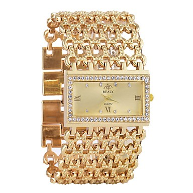 cheap Square & Rectangular Watches-Women's Bracelet Watch Diamond Watch Gold Watch Quartz Ladies Calendar / date / day Silver / Gold Analog - Gold Silver One Year Battery Life / Chronograph / Hollow Engraving