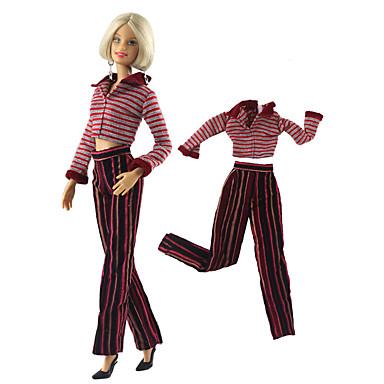 levne Doplňky pro panenky-Oblečení pro panenky Doll Pants Kalhoty Topy 2 pcs Pro Barbie Módní Tmavě červená Netkaná textilie Látka Bavlněné tkaniny Vrchní deska / Kalhoty Pro Dívka je Doll Toy