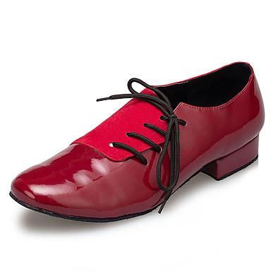 Muškarci Plesne cipele Lakirana koža Moderna obuća Isprepleteni dijelovi Tenisice Debela peta Tamno crvena