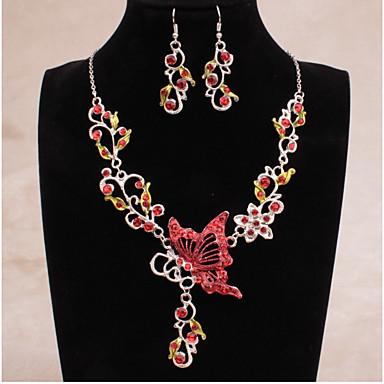 Žene Svadbeni nakit Setovi Izrezati Rukav leptir Etnikai Moda Naušnice Jewelry Crvena / Crvena / Plava Za Vjenčanje Večer stranka 1set