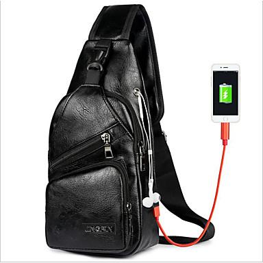 cheap Men's Bags-Men's Zipper PU Sling Shoulder Bag Black / Brown / Dark Brown