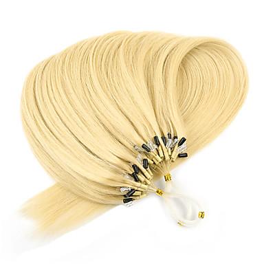 voordelige Extensions van echt haar-Microring haarextension Extensions van echt haar Recht Echt haar Platina Blond