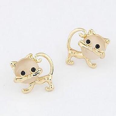 povoljno Modne naušnice-Žene Sitne naušnice 3D Mačka dame slatko Naušnice Jewelry Zlato Za Dnevno 1 par