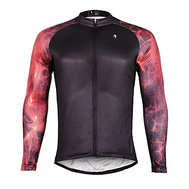 ILPALADINO Men s Long Sleeve Cycling Jersey - Black Fashion Bike Jersey Top  Thermal   Warm Fleece Lining Ultraviolet Resistant Sports Winter Elastane  ... af24546f0