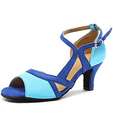 Žene Plesne cipele Saten Cipele za latino plesove Isprepleteni dijelovi Štikle Kubanska potpetica Plava / Seksi blagdanski kostimi / Vježbanje